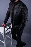 Мужская куртка кожзам черная 8011