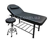 Кушетка косметологическая LS-266A Black + стульчик 836 Black