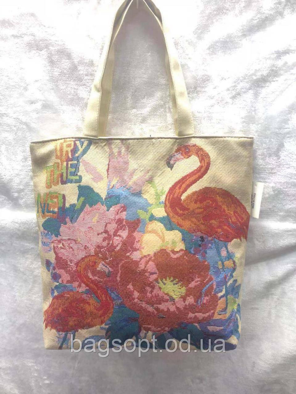 Яркая летняя пляжная сумочка с рисунком Фламинго (льняная)