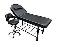 Кушетка косметологическая LS-266A Black + стульчик 780 Black