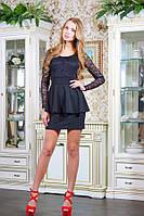 Платье с гипюровым верхом АНАБЕЛЬ черный