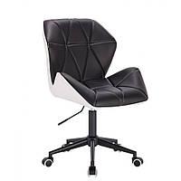 Кресло  косметическое  HR212 черно-белое , эко-кожа ,колеса черные.