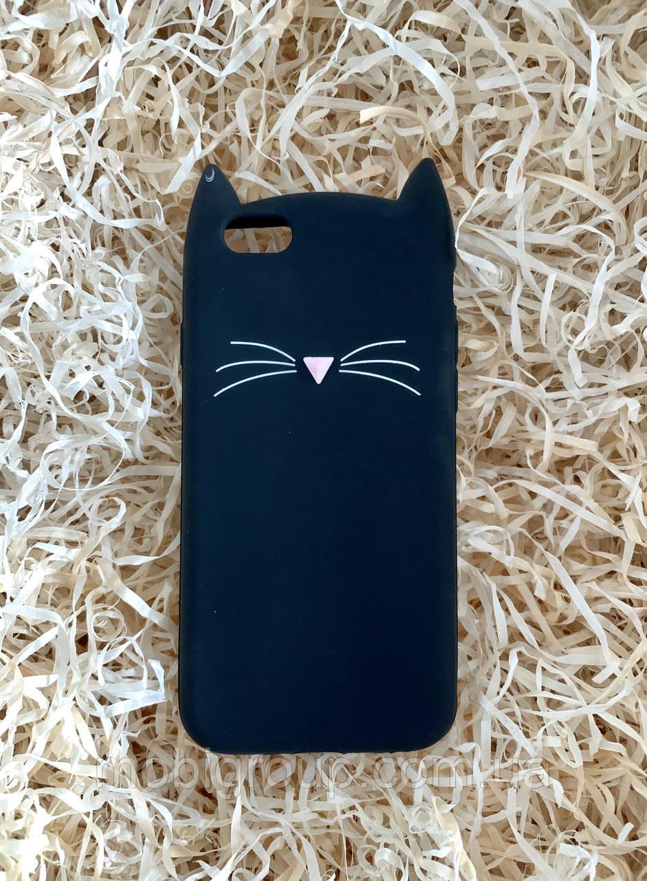 Силиконовый чехол Cat для iPhone 6 / 6s, черный