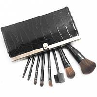 Набор кистей для макияжа в кошельке 8 штук Черный лак, кисточки для макияжа