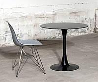 Стол стеклянный круглый черного цвета Medison Black GLOSS TD-09 Evr