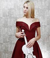 Вечернее Выпускное Атласное платье со спущенными плечами цвета Марсала
