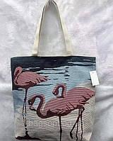 Молодежная летняя пляжная сумка шоппер из ткани с рисунком Фламинго