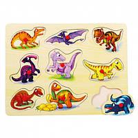 Деревянная рамка-вкладыш - Динозавры ТМ Bino 88099