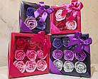 Оптом - Подарочный набор цветочного мыла Rose Garden из 4 роз для девушек и женщин в коробке с бантиком, фото 4
