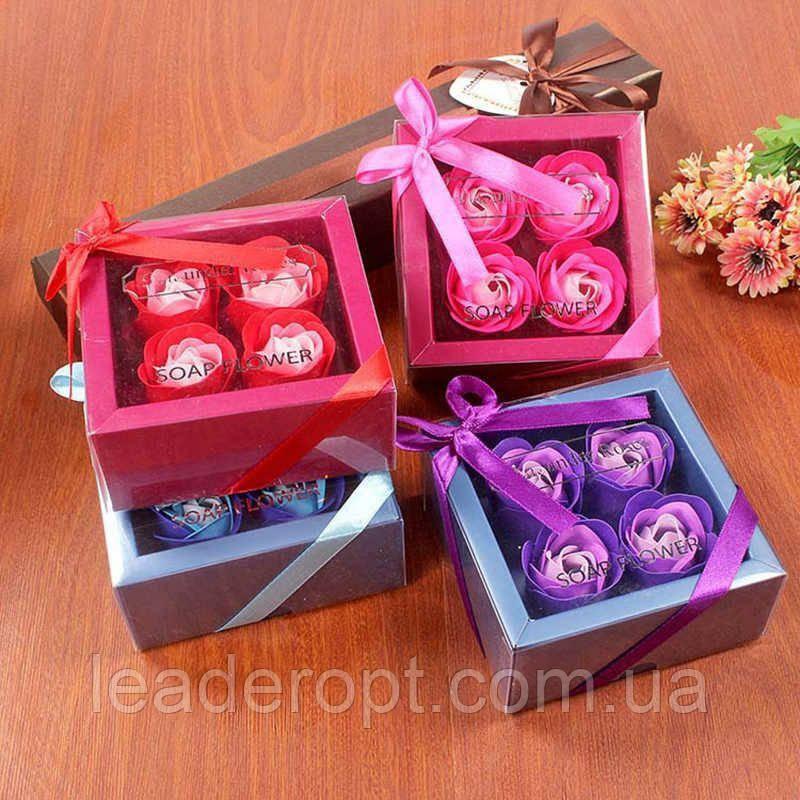 Оптом - Подарочный набор цветочного мыла Rose Garden из 4 роз для девушек и женщин в коробке с бантиком