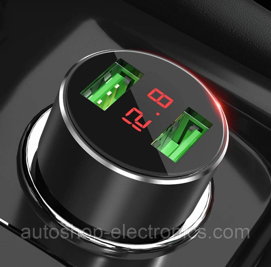 Автомобильное зарядное 2xUSB / Адаптер питания 2xUSB / Вольтметр + Ток зарядки (12-24В, 3.1А, алюминий)