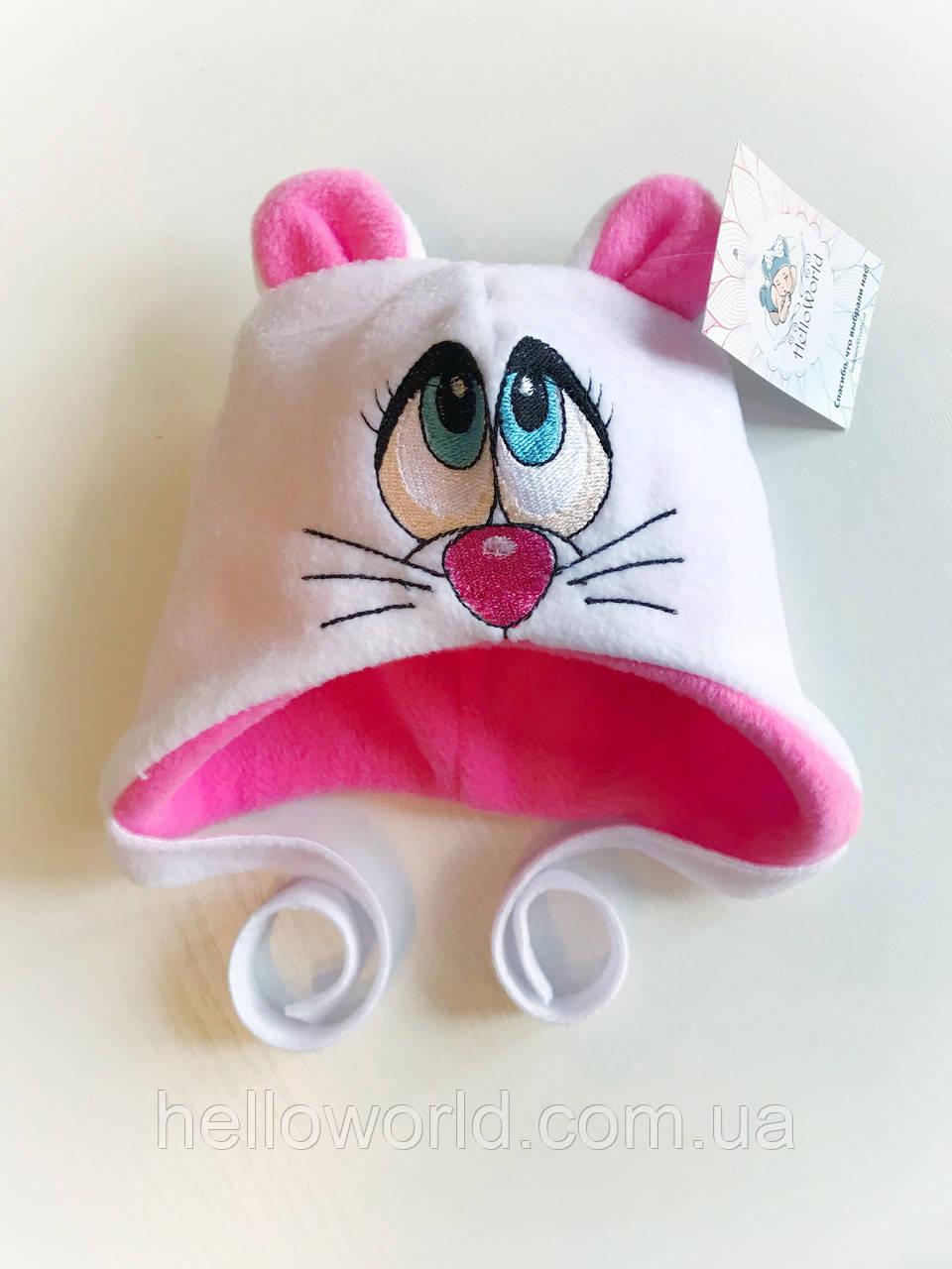 Шапочка с глазками розовая