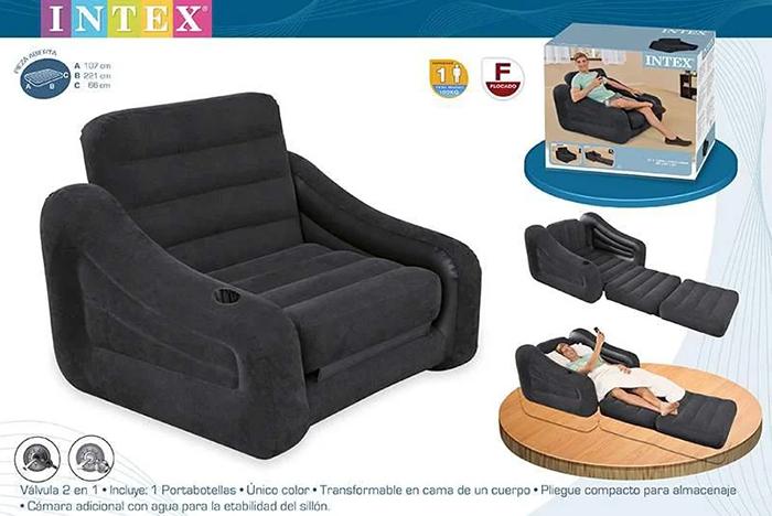 Надувне крісло ліжко Intex 68565 109х218х66