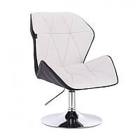 Кресло  косметическое  HR212 бело - черное  , эко-кожа , диск .