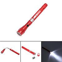 Гибкий телескопический фонарь с магнитом красный, фото 1