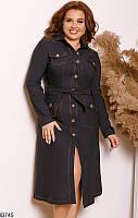 Платье женское стильное весна-осень джинс-бенгалин 48-58р.,цвет темно-синий