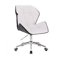 Кресло  косметическое  HR212 бело - черное  , эко-кожа , колеса.