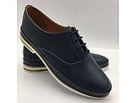 Синие кожаные женские туфли Турция, фото 1