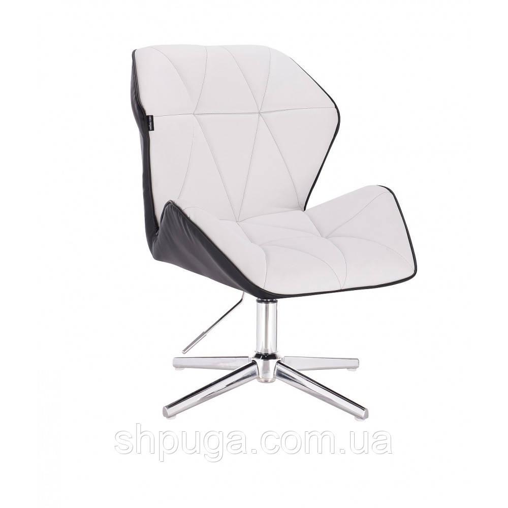 Кресло  косметическое  HR212 бело - черное  , эко-кожа , стопки