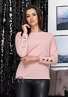 Женская модная кофточка из ангоры на плечи с пуговицами на рукавах розовая