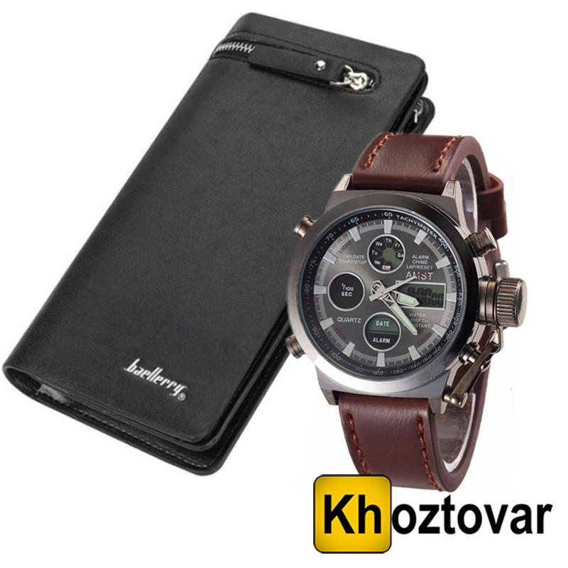 Акционный набор Армейские наручные часы Amst Watch | Мужское элитное портмоне Baellery S618