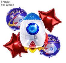 """Набір кульок """"Ракета"""" для гелію - 5шт. (без гелію), зірки 43см, круглі кулі 41см, ракета 72см"""