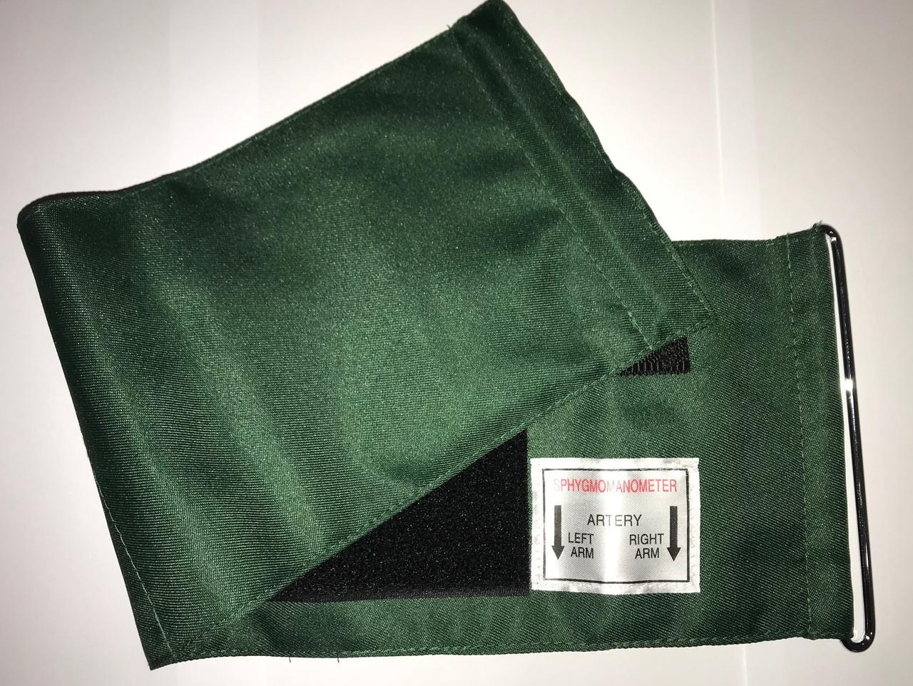 Манжет тканевой для плеча с металлическим кольцом без камеры, обхват 22-32 см, цвет зеленый