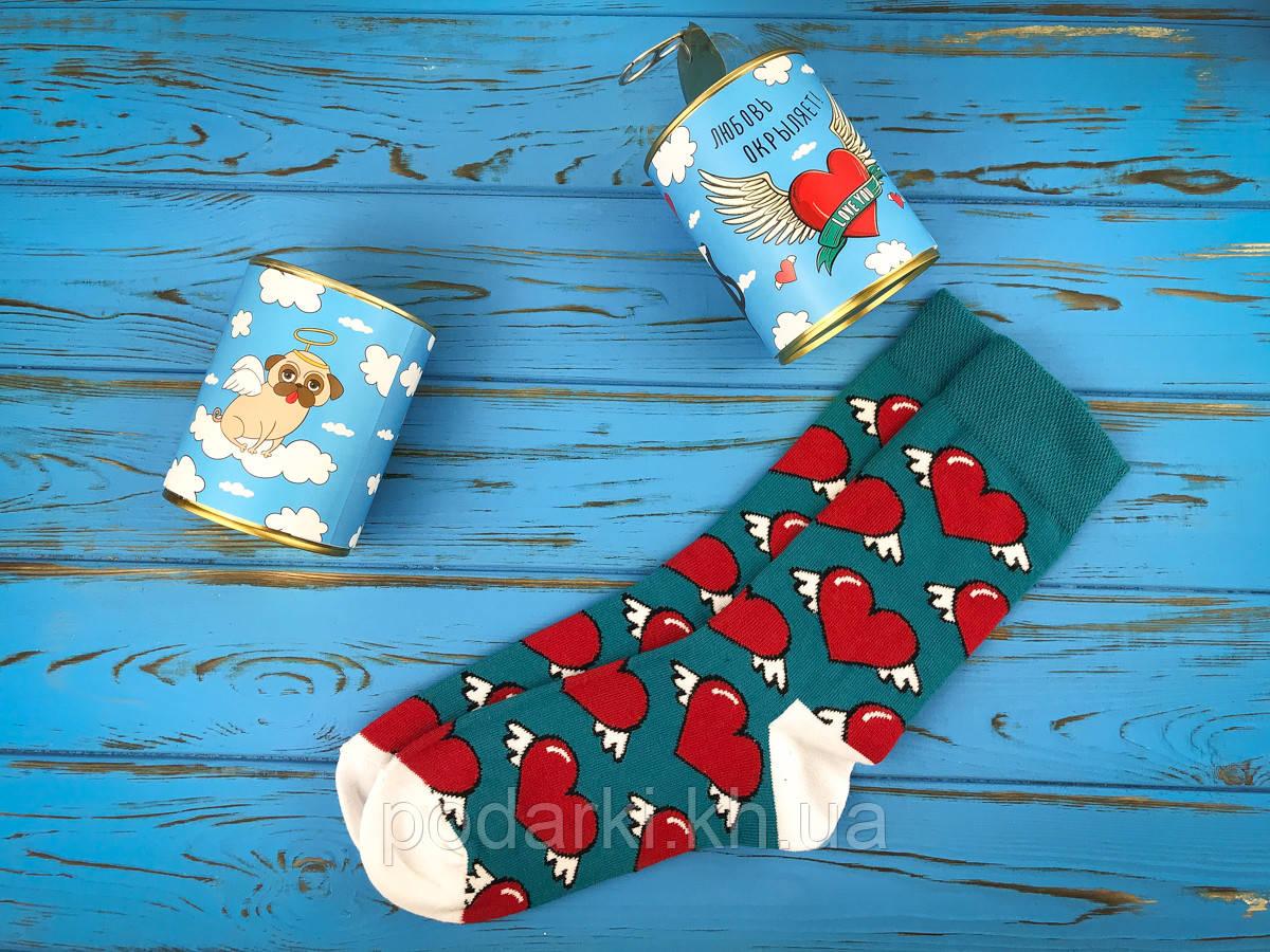Консервированные носки для парня Любовь окрыляет