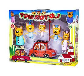 """Фігурки """"Три кота"""", PS659 (72шт/2) 5 героїв, машинка, та з вітрячком у кор."""