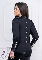 Черная женская нарядная кофта с пуговицами на спинке и рукавах