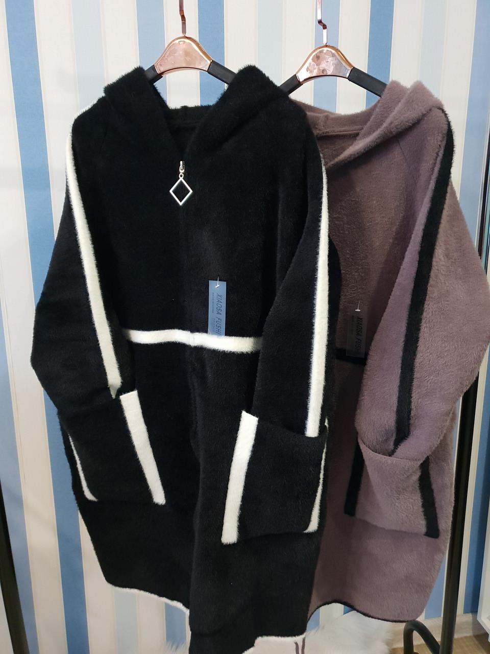 Женское пальто из шерсти альпака с капюшоном большие размеры