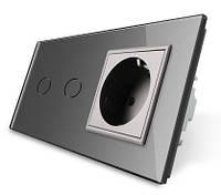 Сенсорный выключатель на 2 канала с розеткой Livolo, цвет серый, стекло (VL-C702/C7C1EU-15)