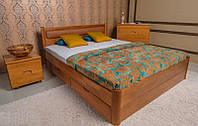 Кровать Олимп Марго с мягкой спинкой и ящиками массив бука
