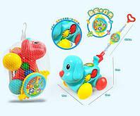 "Каталка ""Собачка"" 29504 (84) 2 цвета, пищалка, подсветка, мелодии, в кульке"