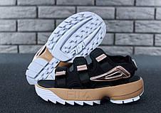 Женские сандалии\босоножки в стиле Fila Disruptor Sandals Black\Gold Черно-золотые, фото 2