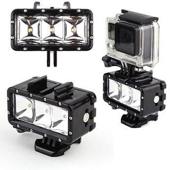 Лампа LED водонепроницаемая от SHOOT, подсветка для экшн-камер Xiaomi YI, SJCam, GoPRO (код № XTGP253)