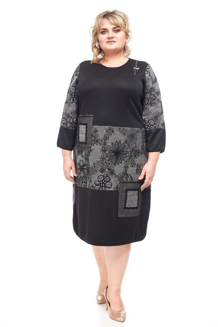 Модное женское платье батал Тамила цветы (58-68)