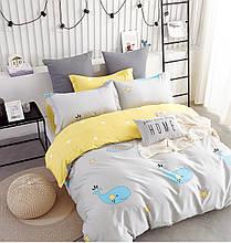 Комплект постільної білизни Bella Villa сатин полуторний сіро-жовтий.