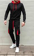 Мужской спортивный костюм черный с красной отделкой