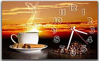 Декоративные интерьерные коричневые часы на стену для кухни ReD Кофе и закат 30х50 см