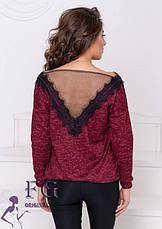 Бордовая нарядная ангоровая женская кофточка на плечи с кружевной спинкой, фото 3