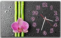Декоративные интерьерные серые часы на стену для спальни ReD Розовая орхидея 30х50 см