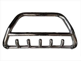 Передняя защита бампера, кенгурятник с грилем и трубой D60, Hyundai Santa Fe (2000-2006)