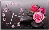 Декоративные интерьерные серые часы на стену для спальни ReD Розы на камне 30х50 см