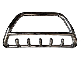 Передняя защита бампера, кенгурятник с грилем и трубой D60, Hyundai Santa Fe (2006-2012)
