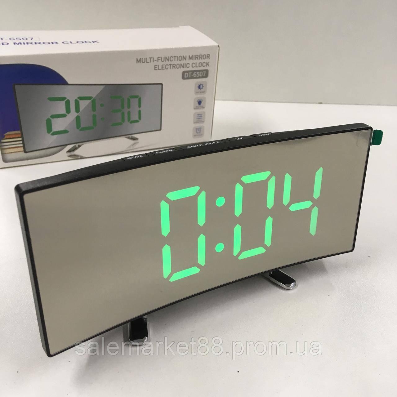 Часы DT-6507  зеркальные Черный корпус Зеленые цифры настольные Термометр Будильник Батарейки USB