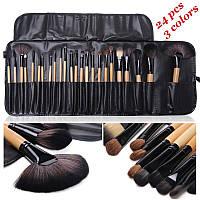 Набор кисточек  для макияжа из 24 шт с чехлом, черные.