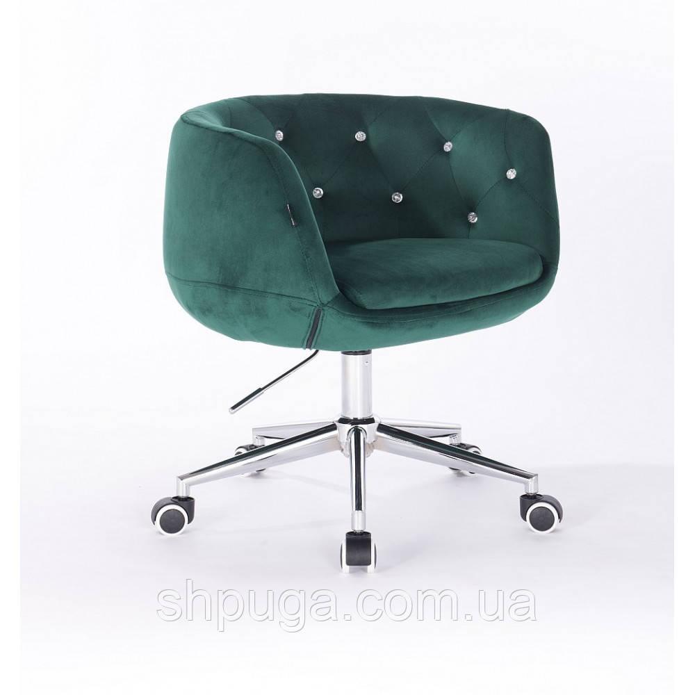 Кресло HR333 бутылочный зеленый велюр . стразы.