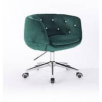 Кресло HR333 бутылочный зеленый велюр . стразы., фото 1