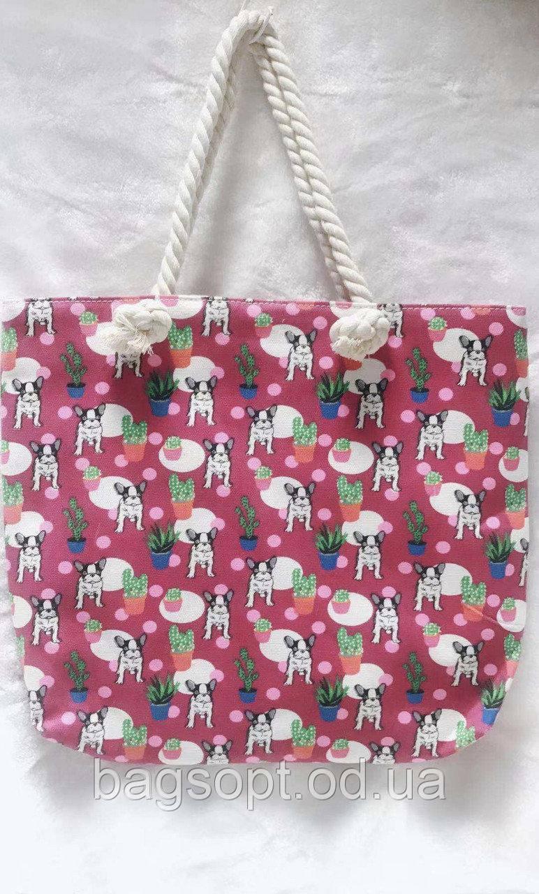 Летняя сумка пляжная яркая тканевая (хлопковая) с рисунком канатные ручки